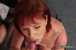 Frisky idol gets cumshot on her face eating all the cre