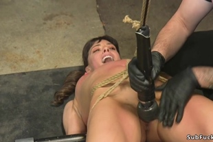 Slave is anal fucked in doggy bondage