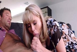 Cheating housewife Amber Chase sucking a huge cock